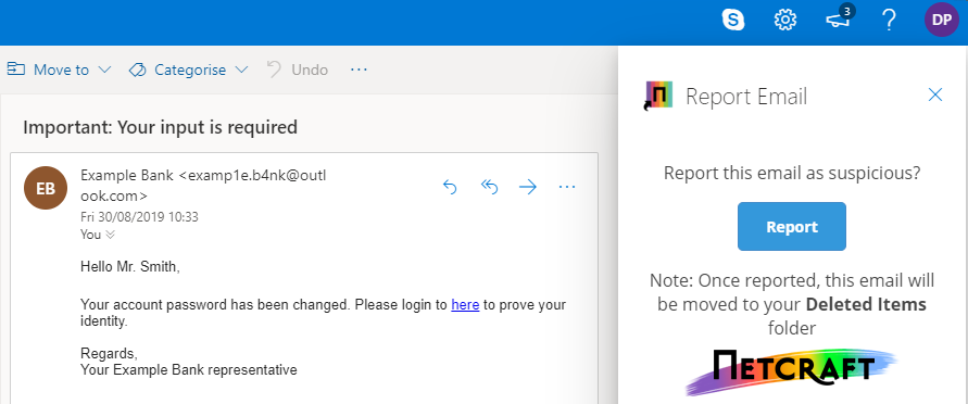 Mail reporter on outlook web app